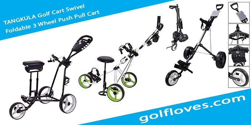 TANGKULA Golf Cart Swivel Foldable 3 Wheel Push Pull Cart
